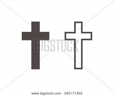 Religion Cross Icon Vector Illustration On White Background. Christian Cross Icon Symbol