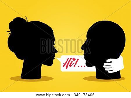 Illustration Of Silhouette Of A Woman Head Flirting With A Man With Bubble Talk