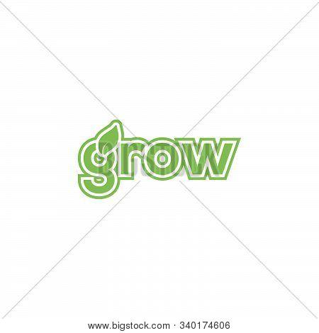 Wordmark Grow Logo. Eco Symbol Vector Design.