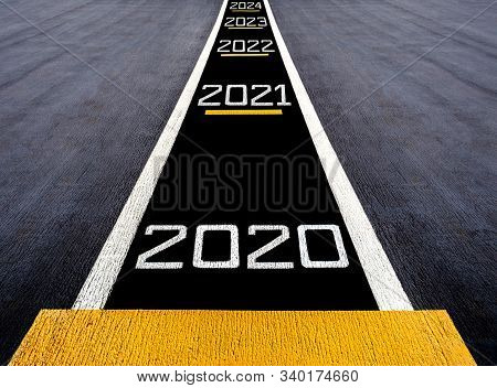 Look Forward And Move To The Futuer, Start To New Year Two Thousand Twenty (2020), Painted On A Runw