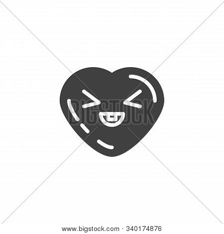 Grinning Face Emoji Vector Icon. Filled Flat Sign For Mobile Concept And Web Design. Squinting Heart