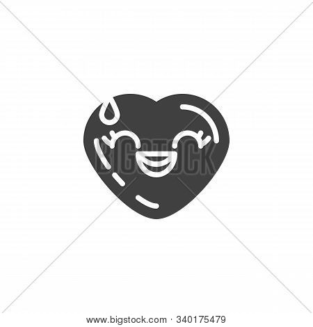 Grinning Face With Sweat Emoji Vector Icon. Filled Flat Sign For Mobile Concept And Web Design. Laug