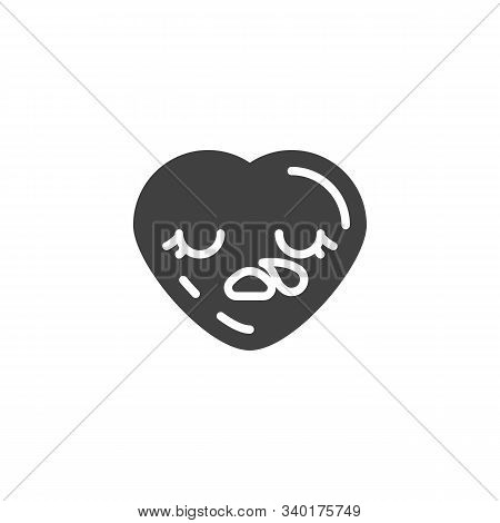 Sleepy Heart Face Emoji Vector Icon. Filled Flat Sign For Mobile Concept And Web Design. Drooling He