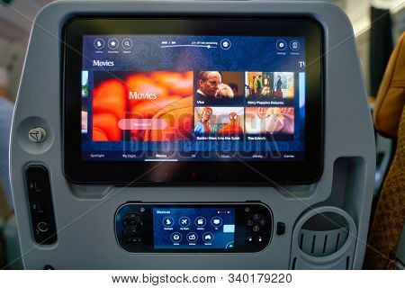 SINGAPORE - CIRCA APRIL, 2019: seat back screen on board of Singapore Airlines Airlines A350.