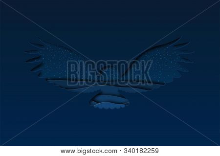 North Arctic Polar Snowy White Owl In Paper Cut Craft Style With Dusk Winter Landscape Background, H