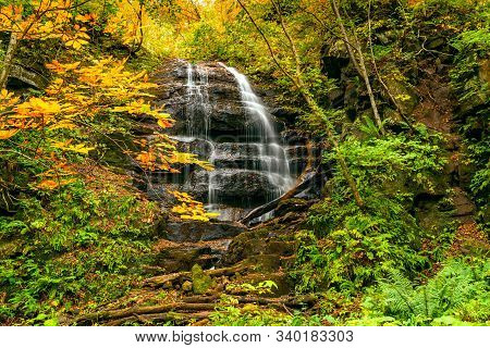 High Waterfall In The Colorful Foliage Of Autumn Forest At Oirase Stream Walking Trail In Oirase Gor