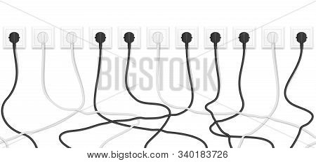 Realistic Electric White Socket With Connected White And Black Plugs. Seamless Vector Tangled Wires