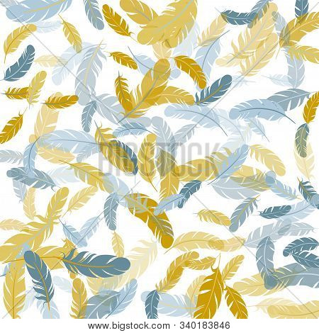 Glamour Silver Gold Feathers Vector Background. Detailed Majestic Feather On White Design. Plumage T