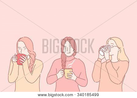Cheering Up, Getting Warm Concept. Winter Hot Beverage, Medicinal Drink, Cold Treatment, Young Woman