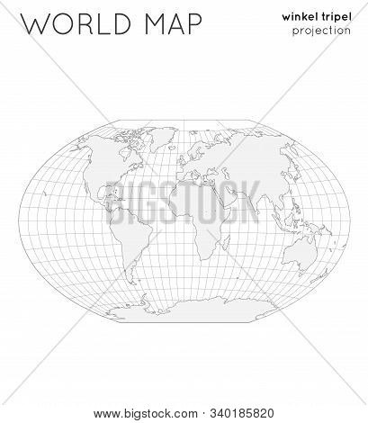 World Map. Globe In Winkel Tripel Projection, With Graticule Lines Style. Outline Vector Illustratio
