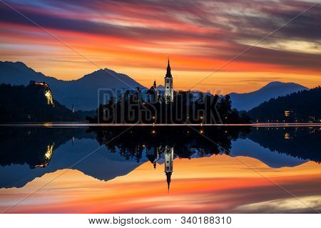 Sunrise On Bled Lake With Pilgrimage Church Of The Assumption Of Maria, Bled, Slovenia, Europe