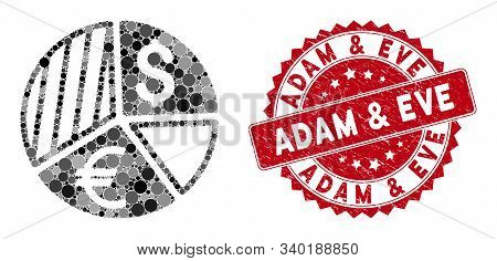 Collage Currency Pie Chart And Corroded Stamp Seal With Adam And Eve Phrase. Mosaic Vector Is Create