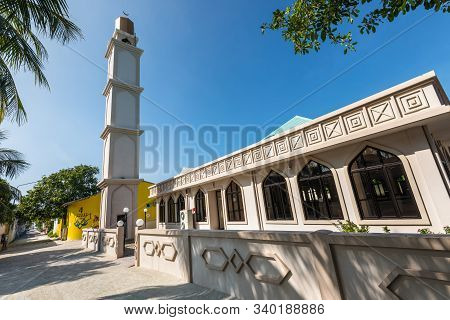 Huraa, Maldives - November 19, 2017: The Mosque On The Island Of Huraa In The Maldives, North Male A