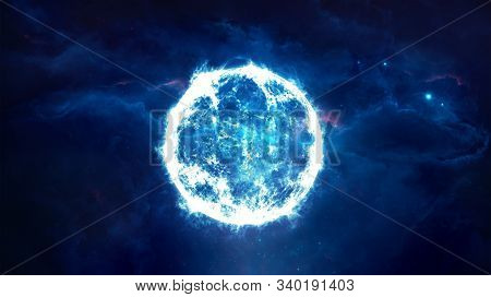 Abstract 3d Rendering Illustration Of A Blue Small Star Going Supernova