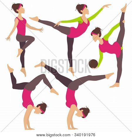 Set Of Young Woman Practicing Yoga Stretching Fitness, Rhytmic Gymnastic For Infographic Isolated On