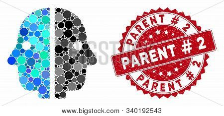 Collage Dual Face And Corroded Stamp Seal With Parent Hashtag 2 Text. Mosaic Vector Is Designed With