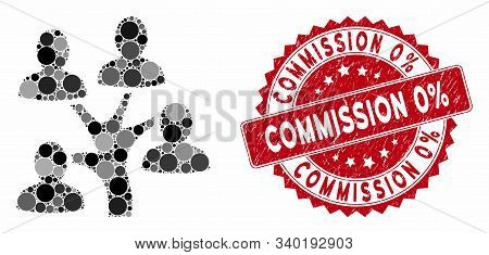 Collage Genealogy Tree And Distressed Stamp Seal With Commission 0 Percent Phrase. Mosaic Vector Is