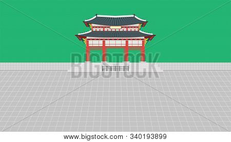 Gwanghwamun Square Gate And Long Wall And Large Courtyard At Gyeongbokgung Palace In Seoul South Kor