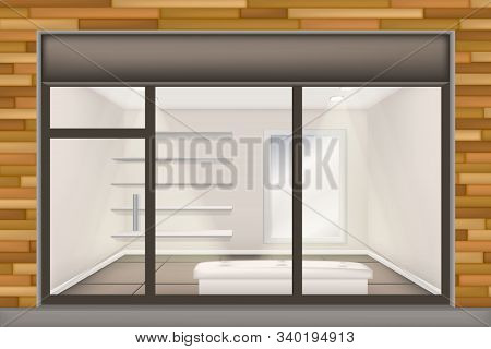 Realistic Shop With Glass Windows And Doors, Front Store Window