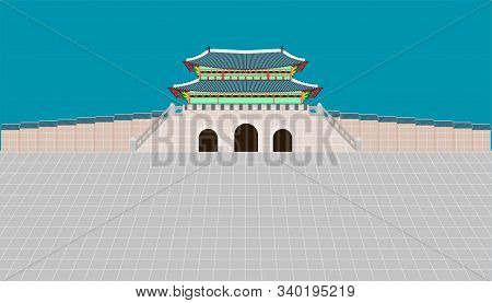 Back View Gwanghwamun Gate And Long Wall And Large Courtyard At Gyeongbokgung Palace In Seoul South
