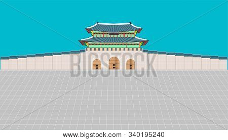 Gwanghwamun Gate And Long Wall And Large Courtyard At Gyeongbokgung Palace In Seoul South Korea. Vec