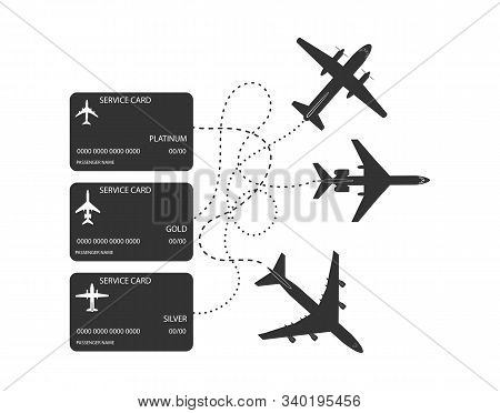 Three Service Cards For Airplane Flights. Flat Style. Isolated On White Background.