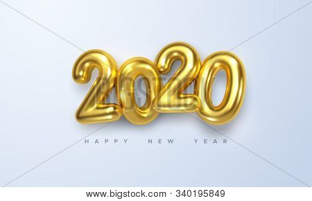 Happy New 2020 Year. Holiday Vector Illustration Of Golden Metallic Numbers 2020. Realistic 3d Sign.