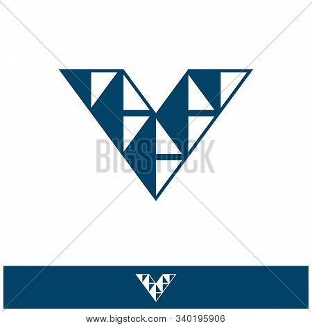 V Dots Logo Design Template. Hexagon V Icon. V Letter Logo Vector. Hexagon Logo, V Letter, V Dots, V