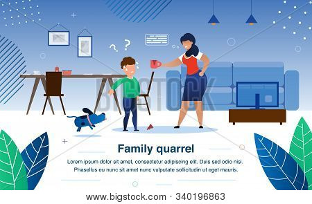 Family Quarrel, Parenting And Child Discipline Problems Trendy Flat Vector Banner, Poster Template.