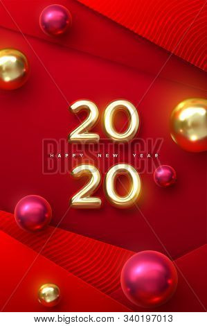 Happy New 2020 Year. Holiday Vector Illustration Of Golden Metallic Numbers 2020 With Christmas Ball