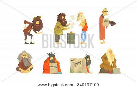 Homeless People Wearing Dirty Torn Clothes Begging For Help Vector Illustrations Set