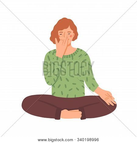 Woman Doing Yoga Flat Vector Illustration. Young Girl In Cross-legged Pose Practicing Breathing Tech