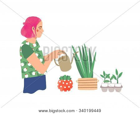 Woman Watering Houseplants Flat Vector Illustration. Young Lady Taking Care Of Potted Plants Cartoon
