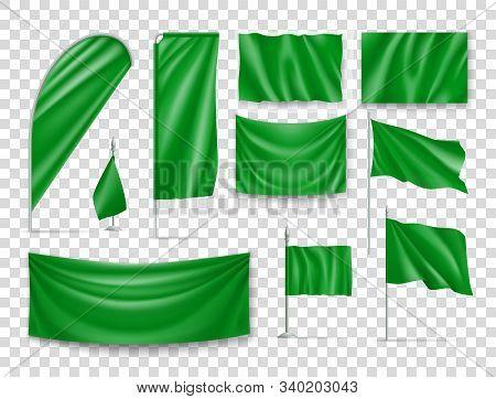 Green Rectangular Flag Set Isolated On Transparent Background. Realistic Wavy Flag On Pole, Expo Ban