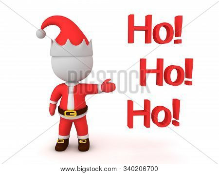3D Santa Claus Showing Text Saying Ho! Ho! Ho!