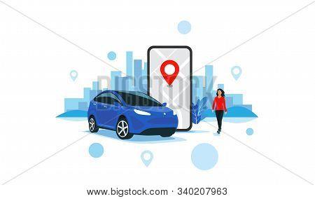 Vector Illustration Of Autonomous Online Car Sharing Service Controlled Via Smartphone App. Phone Wi
