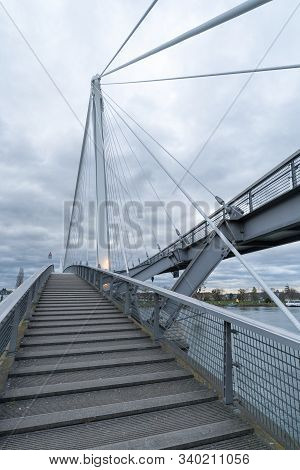 A View Of The Passerelle Des Deux Rives Bridge Over The Rhine River Outside Of Strasbourg