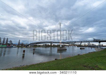 Strasbourg, Bas-rhin / France - 15 December, 2019: A View Of The Passerelle Des Deux Rives Bridge Ov