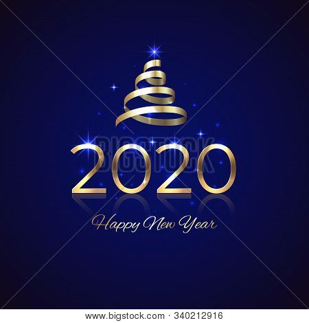 2020 New Year. Shiny Golden 2020 With Ribbon On Blue Background. New Year Design For Invitation, Gre