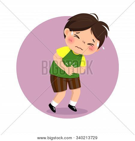Vector Illustration Of Little Boy Suffering From Stomachache. Health Problems Concept.