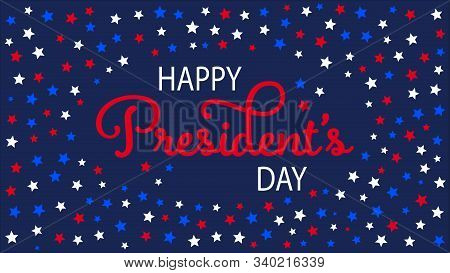 Happy President Day In American Style On Blue Background. Patriotic Illustration. Blue Abstract Back