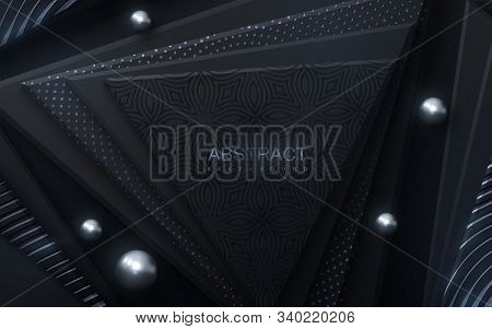 Black Geometric Shapes With Silver Glittering Ornament And Spheres. Abstract 3d Background. Vector P