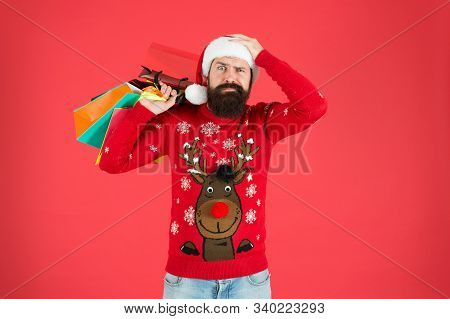 Seasonal Sale. Shopping Hobby. Take It All. Man On Winter Shopping. Guy Wear Knitted Sweater And Hat
