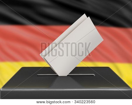 3d Illustration. Ballot Box With German Flag On Background