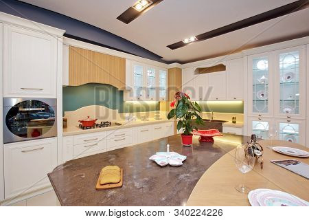 Furniture Of The Classic Italian Kitchen. Modern Style. Design Background. Home Decoration. Modern H