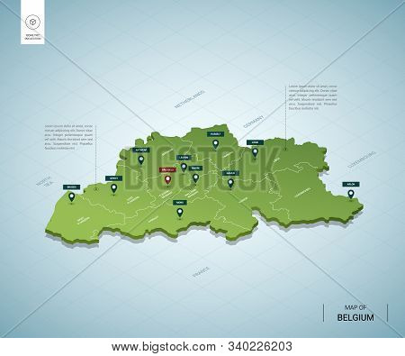 Stylized Map Of Belgium. Isometric 3d Green Map With Cities, Borders, Capital Brussels, Regions. Vec