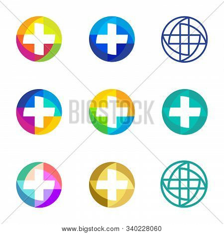 Set Of Colorful Vector Crosses Logo. Round Medical Icons. Religious Signs. Doctors Office Emblems. A