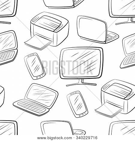 Seamless Pattern, Computer Equipment Icons Monitor, Printer, Laptop And Smartphone. Office Digital E