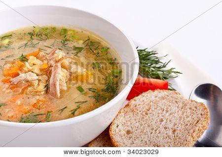 servings of lentil chicken soup