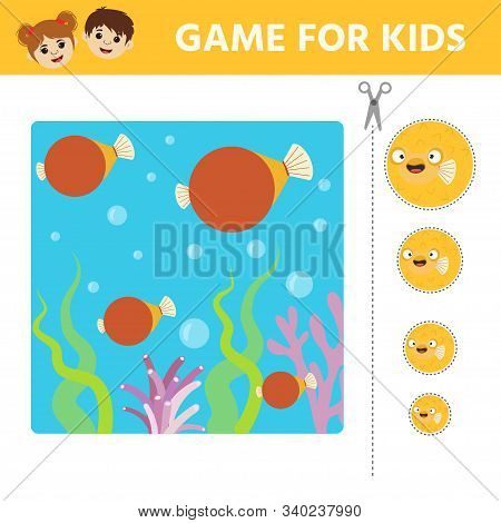 Game For Preschool Children. Pick The Appropriate Size Fish. The Task Is To Cut Pieces Of Fish And S